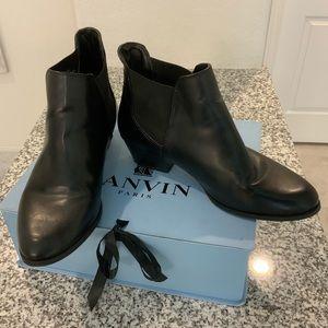 ZARA Black Faux Leather Ankle Boots Sz 41/US10
